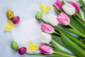 Easter Spring Concept Tulips Eggs