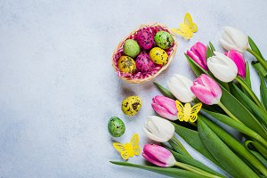Easter Background Tulips Eggs