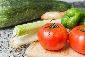 Fresh vegetables on cutting board