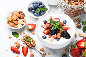 Greek yogurt granola and berry mix.