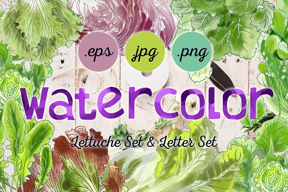 Watercolor Lettuche Set & Letter Set