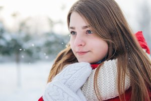 Winter Portrait of a beautiful young