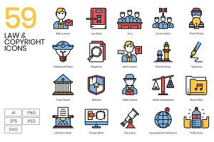 59 Law & Copyright Icons