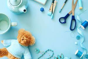 Flat lay blue color objects frame
