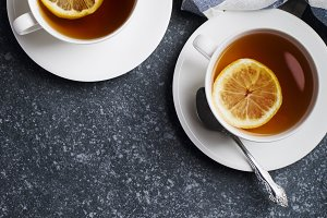 Two cup of tea with lemon