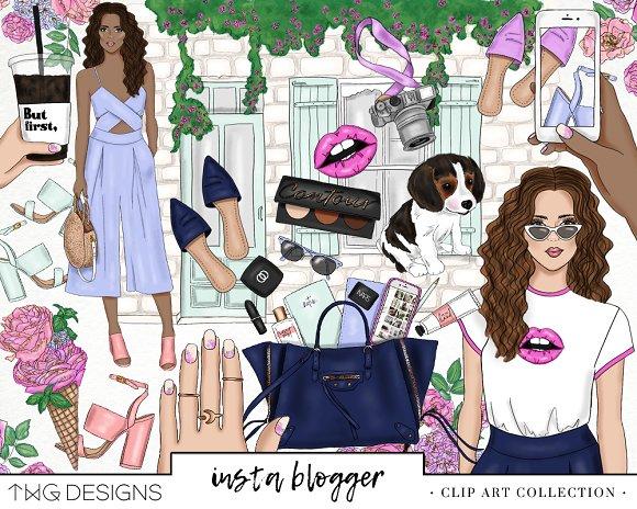 Spring Blogger Fashion Girl Clip Art
