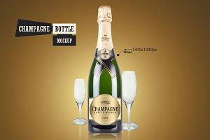 Champagne Bottle - Mockup