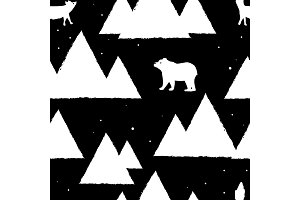 Polar white bears and foxes with triangle abstract mountains. Cute seamless pattern for christmas card, holiday wrapping paper, textile fabric, wallpaper. Vector background