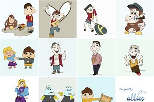 Cartoon Characters (EPS, PNG, JPG)