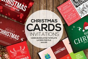 6 Christmas Invitation Cards Bundle
