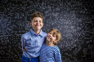 Studio shot of couple of children.