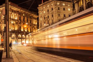 Blurred trolley on street