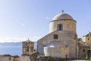 old Byzantine church in town of Monemvasia, Greece