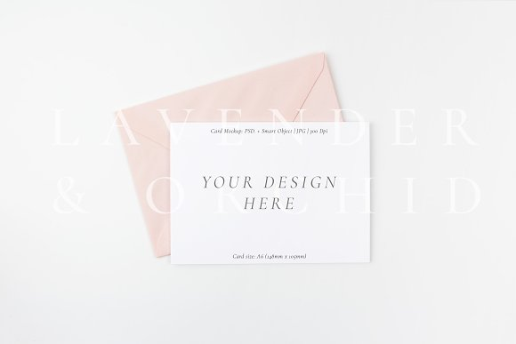 Download A6 Card mockup with blush envelope