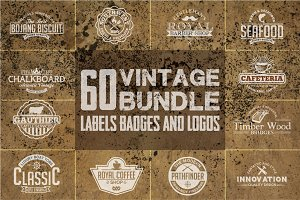 60 Vintage Badges and Logos Bundle