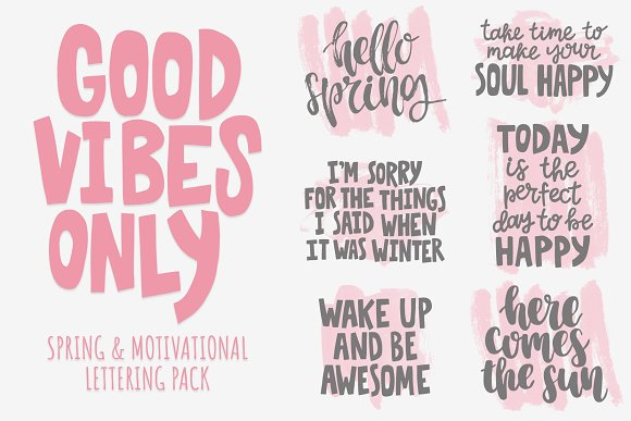 Good vibes only: lettering pack