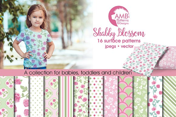 Shabby floral Roses AMB-1272