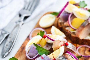 Open sandwich with herring