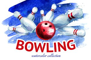 Bowling. Watercolor collection