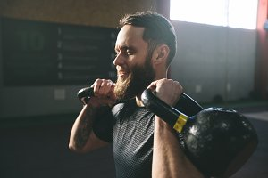 Crossfit gym trainer with beard