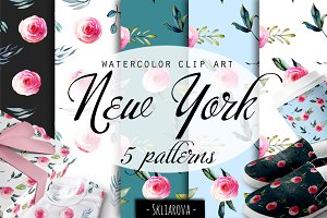 """New York"". Roses patterns."