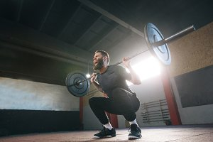 Athlete doing squats