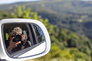Self portrait in a rearview mirror