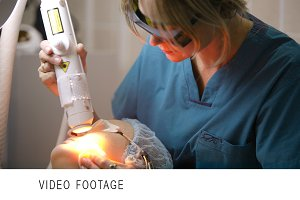 Cosmetic procedure with a laser.