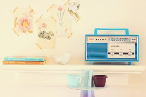 Retro radio with home decor