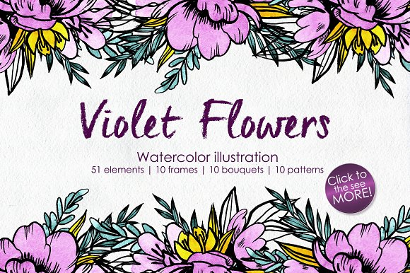 Watercolor Violet Flower Set