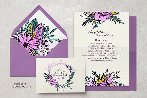 Watercolor Violet Flower Set in Illustrations - product preview 1