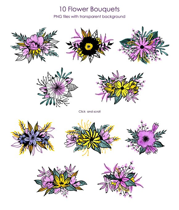 Watercolor Violet Flower Set in Illustrations - product preview 4