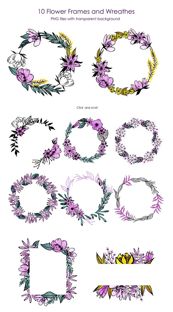 Watercolor Violet Flower Set in Illustrations - product preview 5