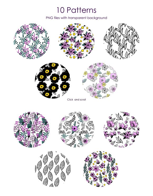 Watercolor Violet Flower Set in Illustrations - product preview 6