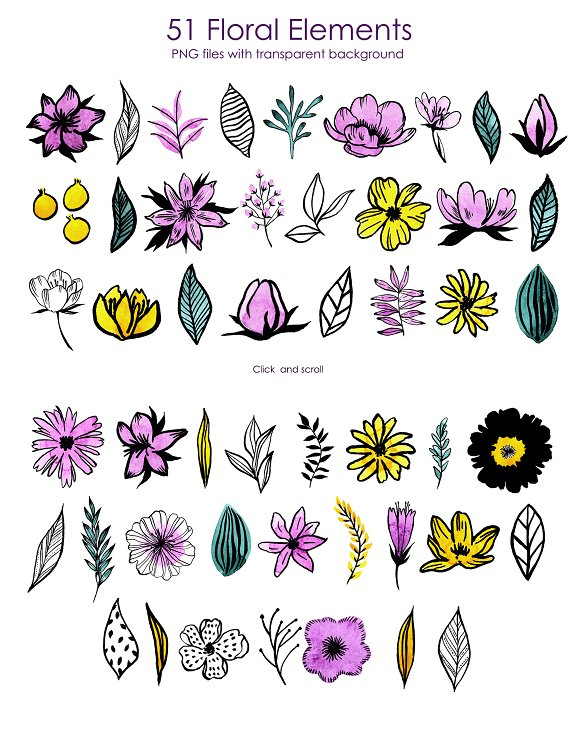 Watercolor Violet Flower Set in Illustrations - product preview 7