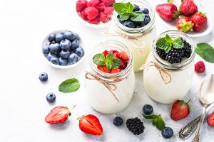 Greek yogurt with berries.