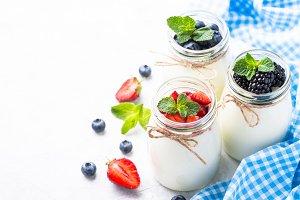 Fresh homemade yogurt with berries