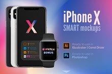 Apple iPhone X mockups (PSD+AI)