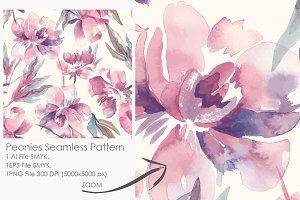 Peonies Seamless Pattern 2