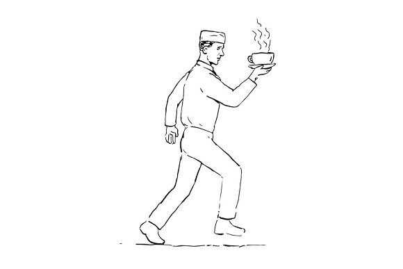 Retro Waiter Running Serving Coffee