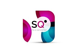 Vector square geometric abstract business emblem