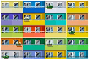 Colored Apartments mini Set