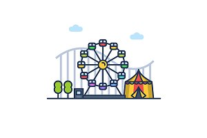 Amusement park colorful illustration