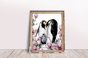 Watercolor penguin family