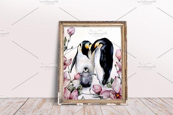 Watercolor penguin family