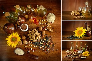 Collection photos vegetable oils