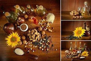 Collection photos vegetable oils