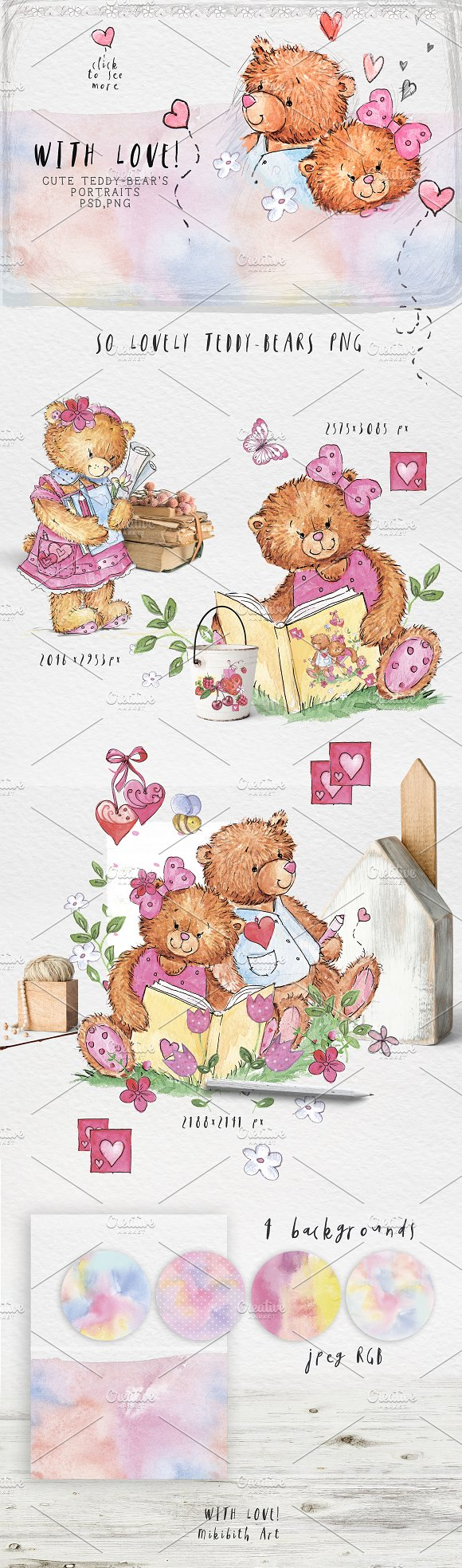SO LOVELY BEARS+ 1 MOUSE :) in Illustrations - product preview 1