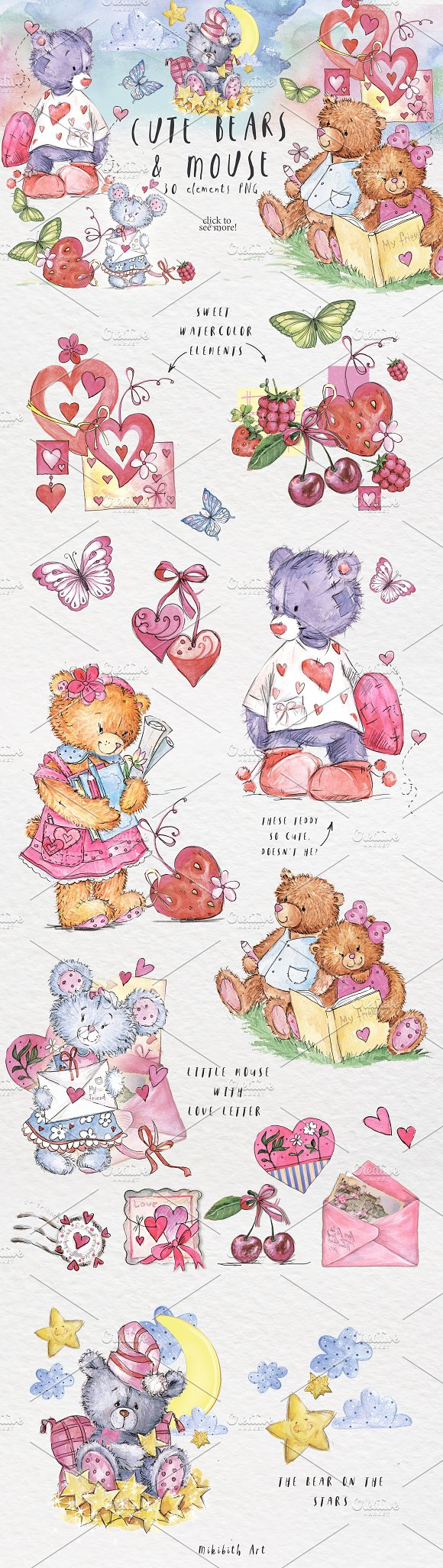 SO LOVELY BEARS+ 1 MOUSE :) in Illustrations - product preview 2