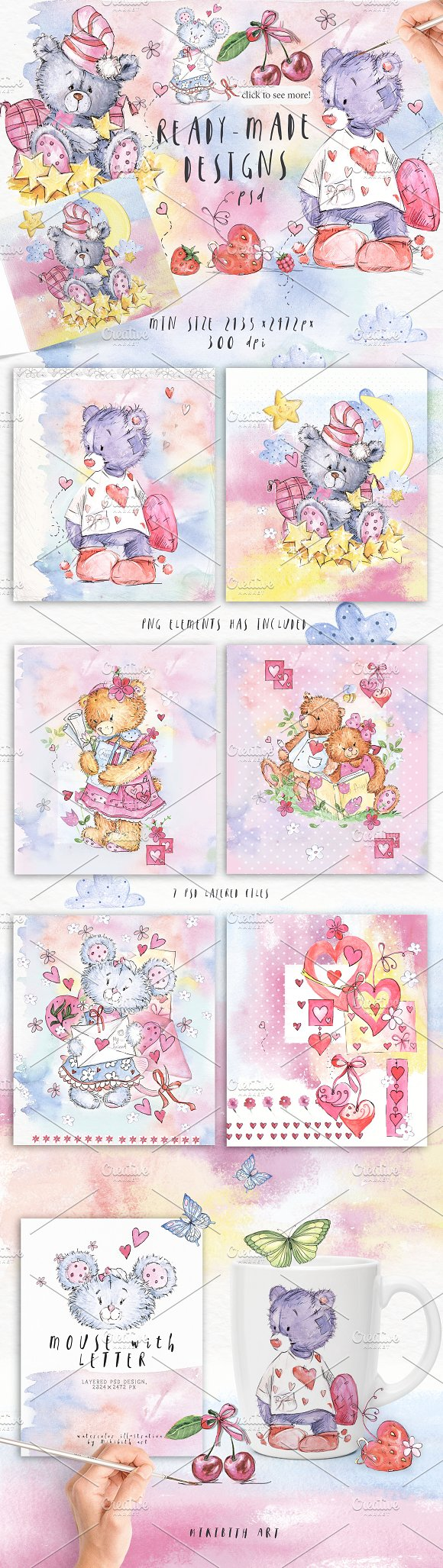 SO LOVELY BEARS+ 1 MOUSE :) in Illustrations - product preview 3